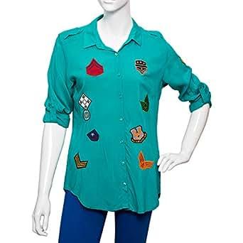 Big Dart Blue Viscose Shirt Neck Shirts For Women