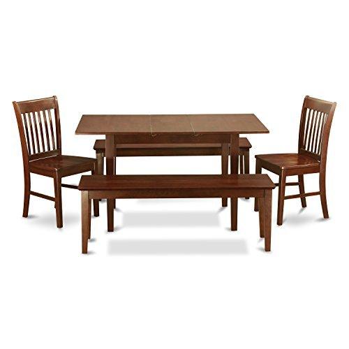 East West Furniture NOFK5C-MAH-W 5-Piece Kitchen Table Set w