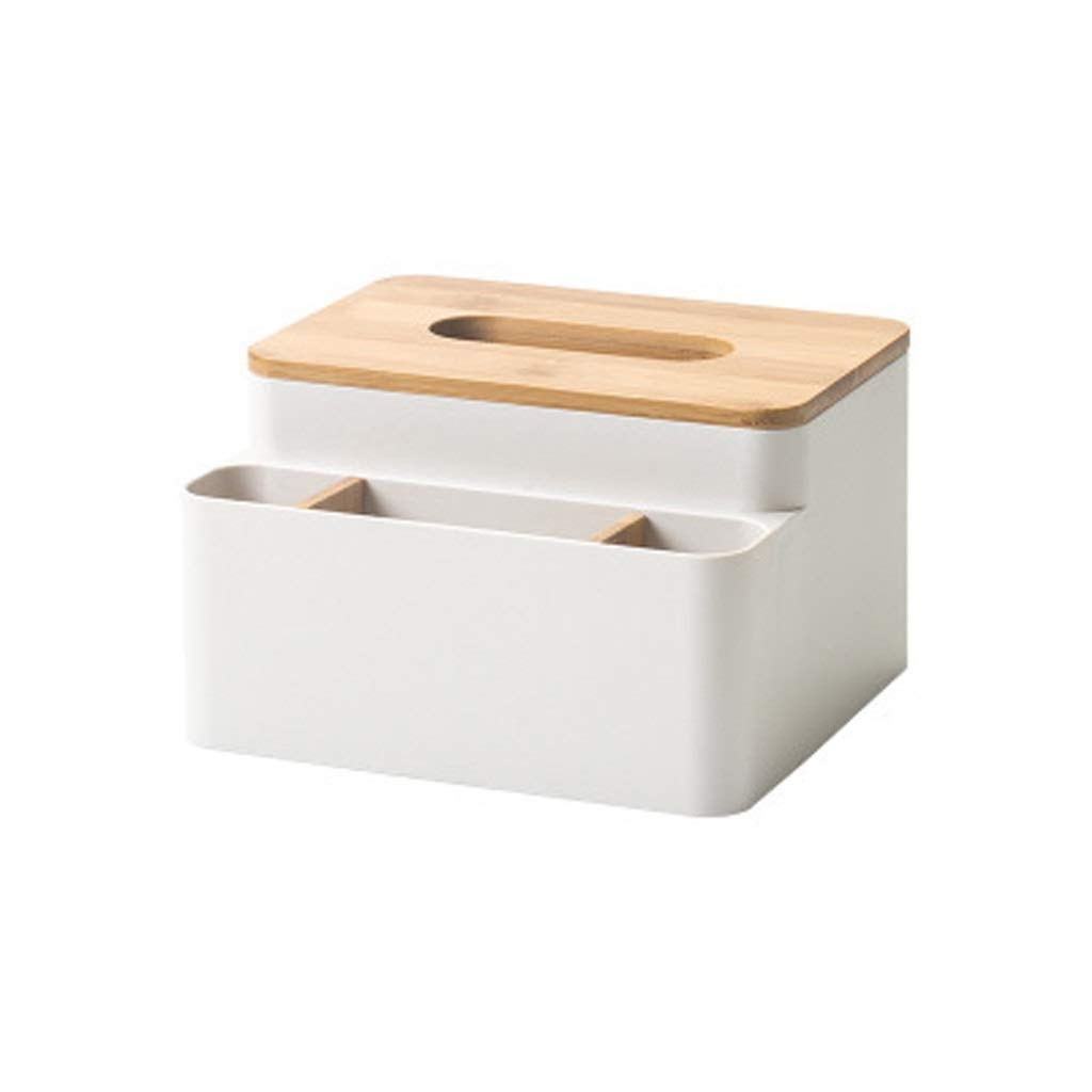 AIWO-PQ Tissue Box Remote Control Storage Roll Paper Tube Plastic for Home/Living Room/Coffee Table (Color : Beige)