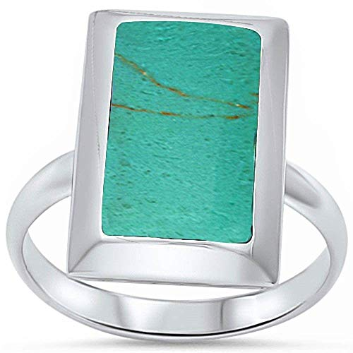 Princess Kylie Synthetic Green Turquoise Radiant Shape Ring Sterling Silver Size 6
