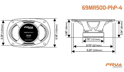 PRV Audio 69MR500PHP-4 6×9″ 500W 4 Ohm Midrange Midbass Loud Car Audio Speaker