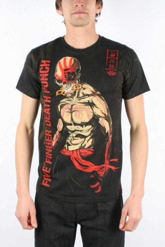 Five Finger Death Punch - Ninja All Over Mens T-Shirt In Black