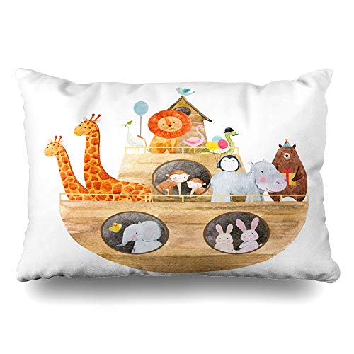 Ahawoso Throw Pillow Cover Queen 20x30 Baptism Bible Childrens Watercolor Cute Noahs Ark History Monkey Safari Ship Africa Design Duck Zippered Cushion Pillow Case Home Decor Pillowcase