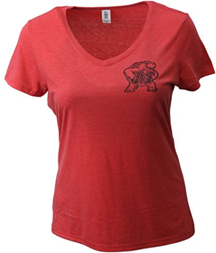 Nitro USA NCAA Maryland Terrapins Womens Super Soft Women's Collegiate Bling V-Neck Tee, Medium, Red
