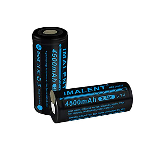 IMALENT MRB-266P45 4500mAh 26650 Li-ion Rechargeable,Drain Flashlight Consumption and High Capacity Protected Battery with Battery Case