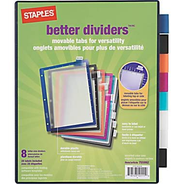 amazon com staples better dividers 8 pack binder index dividers