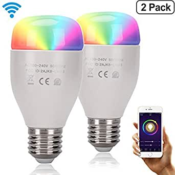 smart led bulb wi fi color light work with alexa google home dimmable multicolored 60w. Black Bedroom Furniture Sets. Home Design Ideas