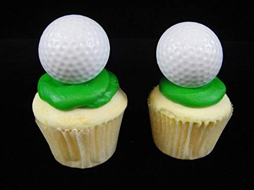 LoonBalloon GOLF Ball White PGA LPGA (12) 3D Cupcake Party Favor Toppers Plastic RINGS
