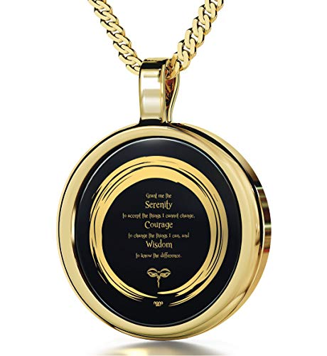 (14k Yellow Gold Serenity Prayer Necklace Zen Pendant Inscribed in 24k Gold on Round Onyx, 18