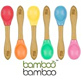 Bamboo Baby Feeding Spoons with Soft Curved Silicone Bowl Tips for Toddlers and Infants Orange (Pack of 2)