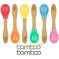 Bamboo Baby Feeding Spoons with Soft Curved Silicone Bowl Tips for Toddlers and Infants