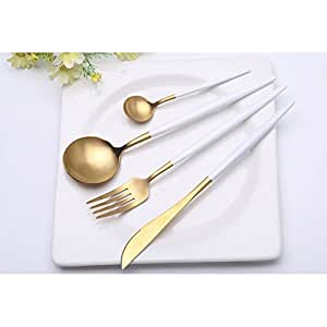 Ocamo 4PCS 304 Stainless Steel Cutlery Set Knife Fork Dinner Spoon Dessert Spoon Kitchen Tableware White + Gold