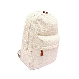 JpOTSUT Cute Lace Canvas Backpack Mori Girl Bag Fresh Garden Bag Backpack The North face Backpack (Color : White)