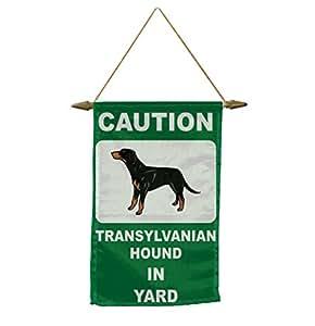 Precaución de perro lebrel de Transilvania en patio Banner bandera con cuerda para colgar.