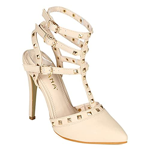 discount Women Leatherette Pyramid Studded Pointy Toe Triple Ankle Strap Stiletto Pump CB79 - Nude Leatherette