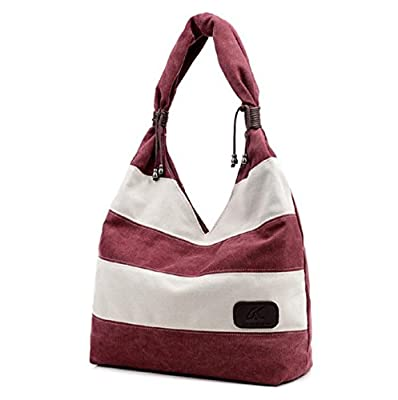 Vovotrade Women Canvas Fashion Stripe Handbag Shoulder Bag Large Tote Ladies Purse