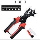 Leather Hole Punch Tool For Belts, ProttyLife Heavy Duty Belt Puncher Plier Easily Punches Fabric Saddle Leather Belt Cardboard Paper Epaulettes Rigid PVC