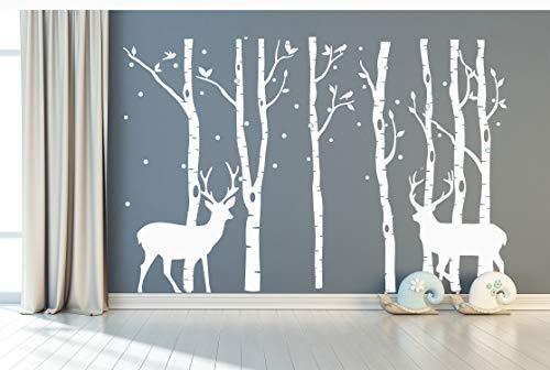 DAEGOD Birch Tree Deer Wall Decal Forest Birch Trees Vinyl Sticker Wall Decal Wall Stickers Kids Bedroom Decor Nursery Bedroom (White+White)