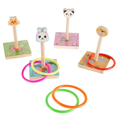 Hey!Play!! Kids Zoo Animal Ring Toss Game Set-Indoor Outdoor Old-Fashioned Horseshoe Toy-Fun Preschool Age Learning Activity for Boys and Girls