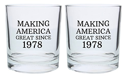 40th Birthday Gifts for Dad Mom Making America Great Since 1978 Republican Conservative 40th Birthday Party Supplies Gift Lowball Glasses 2-Pack Round Lowball Tumbler Set Black by ThisWear (Image #1)