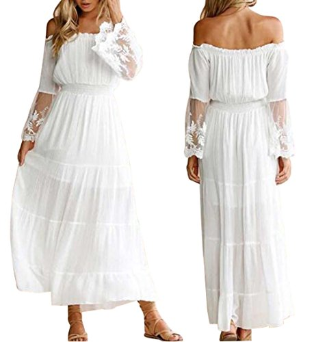 Off Shoulder Dress White Lace Patchwork for Women Maxi Sexy Cocktail Party Wedding Dress Long Sleeve Size L (White)