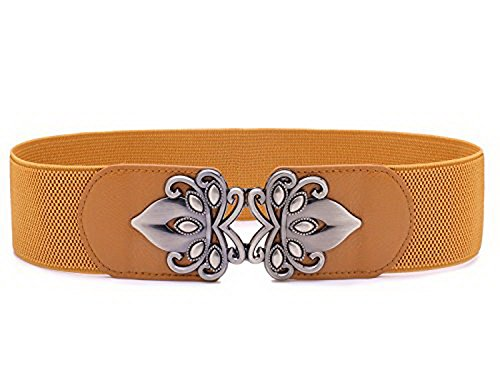 Bootcut Stretch Belt (Chicwe Women's Vintage Plus Size Waist Belt Elastic Stretch 1X-4X, Brown 90)