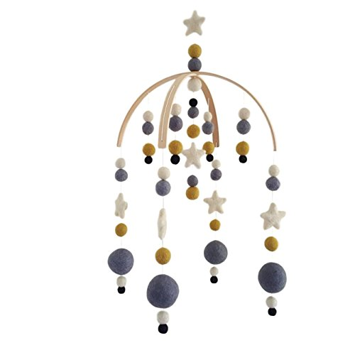 Star Baby Mobile by TIK Tak Design Co - Felt Ball Mobile for Your Boy Or Girl Babies Bed Room - 100% NZ Wool - Designer Colors to Match Your Nursery and Delight Your Child (Gold Dust)