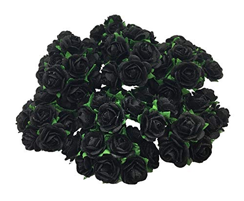 100 Black Color 10 mm Artificial Mulberry Paper Mini Rose Flower Wedding Scrapbook DIY Craft Scrapbook Bouquet Craft Stem Handmade Rose Valentines Anniversary Embellishment