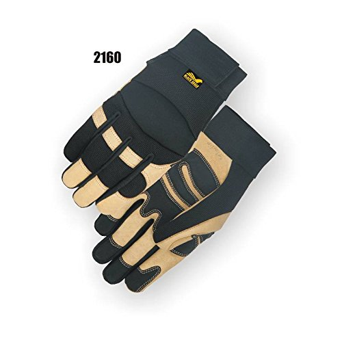 (12 Pair) Majestic PIGSKIN PALM GLOVES WITH KNIT BACK & VELCRO - 2X LARGE, LIGHT GOLD(2160/12)