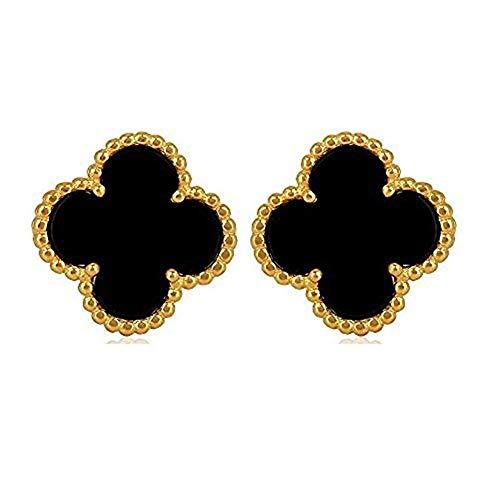 4 Leaf Clover Post Earrings - Women Sterling Silver Flower Shape Black Onyx Diamond Fashion 18K Gold Plated Four 4 Leaf Clover Stud Earrings, Designer Jewelry