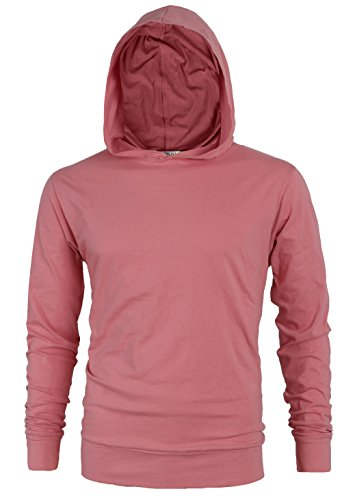 MAJECLO Mens Lightweight Cotton Pullover Long Sleeve Hoodie Sweatshirt(Large,Pink) by MAJECLO (Image #2)