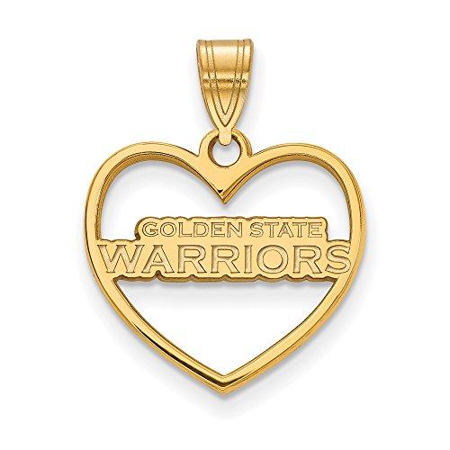 LogoArt NBA 14k Yellow Gold Plated Sterling Silver Golden State Warriors Heart Pendant by LogoArt