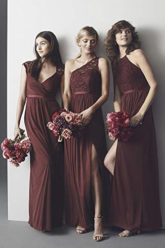 David's Tickled Bridal Lace Style Dress Shoulder Long One Bridesmaid F17063 rrd6UwPzq