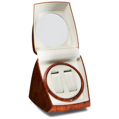 CIRCA Burl Wood Finish Double Watch Winder Off-White Leather 4 Settings by Circa (Image #1)