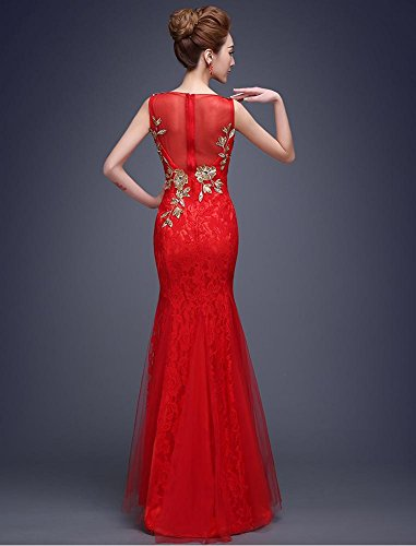 Red Embroidery Beauty Lace Mermaid Emily Long Party Rhinestone Dresses BnFqZw8