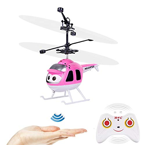 GearRoot Flying Ball Remote Control Helicopter Toy Plane Flying Toys Induction Hover RC Helicopter with Remote Control, Coloful Shining LED for Kids Teenagers Adults Indoor Outdoor Games (Pink)