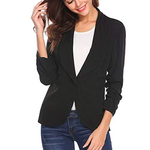 Fashion Elegant Slim Suit Coat for Women Style Three Quarter Sleeve Blazer Black