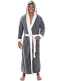 Men s Winter Plush Lengthened Shawl Bathrobe Home Clothes Large Size Long  Sleeved Robe Coat 68c1d27ac