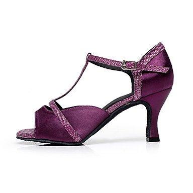 Tacón Salsa latina Personalizable No purple Luis Zapatos baile de XV Danza Morado Negro qXafgY