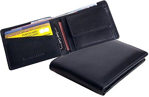 Minibörse, Kleine Geldbörse, extra dünn, feines Nappaleder, Rindleder, schwarz