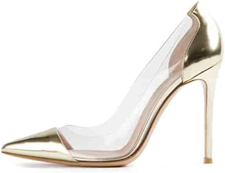 f7478aee78 Sammitop Women's 100mm Pointed Toe Transparent High Heels Pumps Party  Wedding Dress Shoes