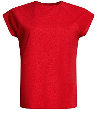 oodji Ultra Mujer Camiseta de Algodón Básica Rojo (4500N)