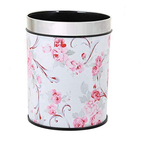 (MYtodo Creative Straight Trash can 12L Living Room Hotel Kitchen Office Storage Bucket (Pink Flower))
