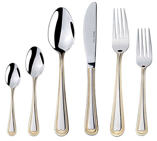 Venezia Collection 75-Piece Fine Flatware Set, Silverware Cutlery Dining Service for 12, Premium 18/10 Surgical Stainless Steel, 24K Gold-Plated (gold sets only) Hostess Serving Set (Beads) by WORLD GIFTS