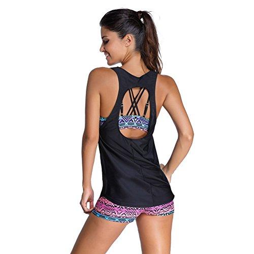 Feelingirl Maillots Imprimé M 3xl Pièces Femme Sport Tankinis De 3 Bain D'entrainement Yoga Set Débardeur Avec Gilet Été 2 Vêtement rrqdUF