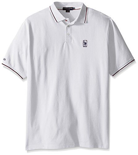 U.S. Polo Assn. Men's Big-Tall Solid Pique Polo Shirt with Color Tipped Collar and Cuffs, White, 2X (Solid Polo Mens Pique)