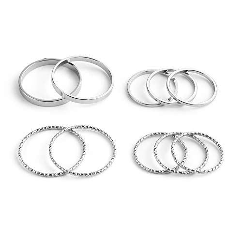 INSANEY 10 PCS Simple Bohemian Crystal Joint Knuckle Ring Sets Finger Rings Midi Ring Set Stackable (Silver)