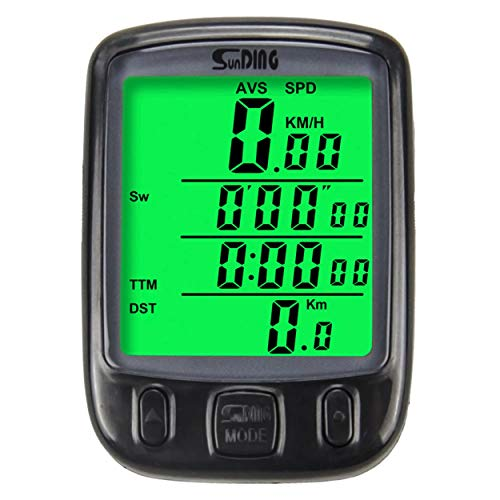 anyilon for Sunding Bike Computer Speedometer Wireless Waterproof Bicycle Odometer Cycle Computer Multi-Function LCD Back-Light Display