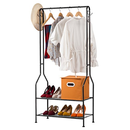 LANGRIA Heavy Duty Commercial Grade Clothing Garment Rack, 2-Tier Entryway Metal Coat Rack and Shoe Bench Storage Stand with Single Rod and 4 Hooks for Home Office Bedroom Max Capacity - Rail Black Clothes
