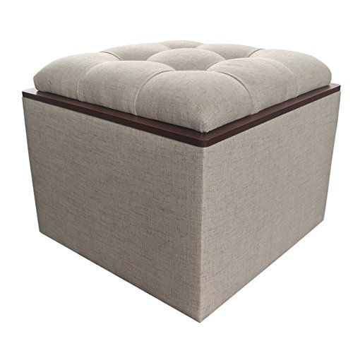 Linen Storage Ottoman with Tufted Top and Hardwood Flipover Tray
